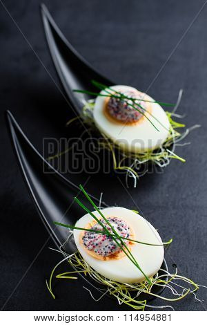 Appetizer on fingerspoon egg with caviaron black background.