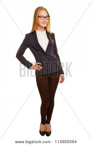 Smiling young blonde businesswoman in full view isolated on white background