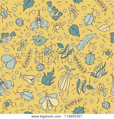 Colorful doodles Beetles Ants Butterflies foliage and needles.