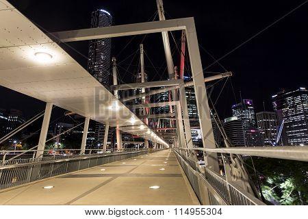 Kurilpa Bridge southside architecture, illuminated pedestrian walkway