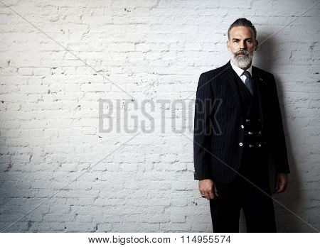 Portrait of bearded gentleman wearing trendy suit and stands against the white brick wall.