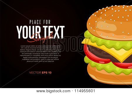 Burger on black background with abstract text