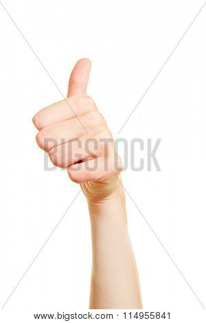 Woman holding thumb up into the air
