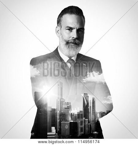 Portrait of stylish gentleman. Double exposure city on the background. Black and white, square