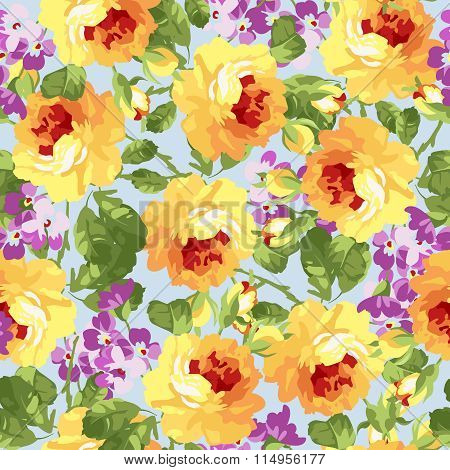Seamless Floral Patter With Yellow Roses