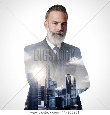 Portrait of stylish gentleman. Double exposure city on the background. Square