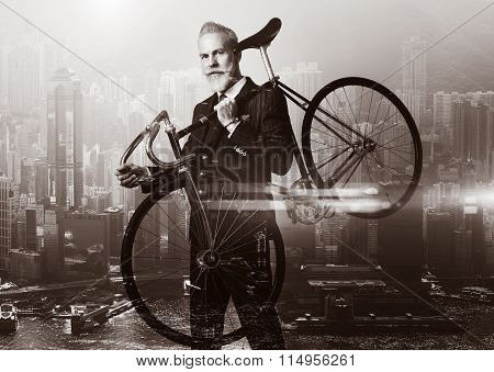 Close-up portrait of stylish gentleman holding a bicycle his shoulder. Double exposure city on the b