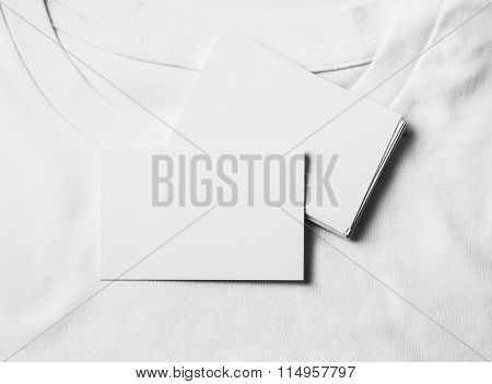 Set of blank business cards on white tshirt. Horizontal
