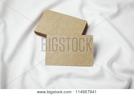 Set of blanks craft business cards on white tshirt. Horizontal