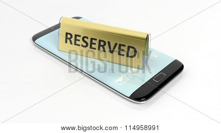 Golden glossy reservation sign on smartphone screen, isolated on white background.