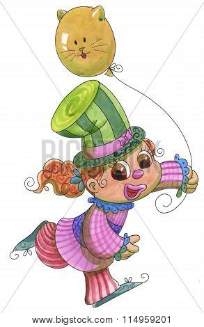 Young clown girl with cat balloon