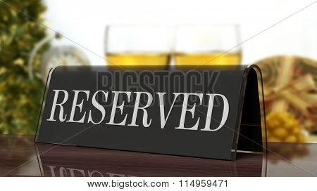 Black glossy reservation sign on wooden surface, with festive background.