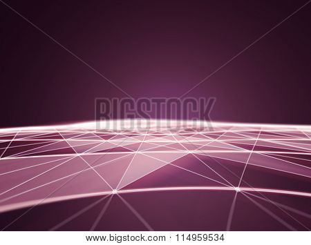 Abstract Polygonal Space Red Background with Low Poly Connecting Dots and Lines - Connection Structure - Futuristic HUD background