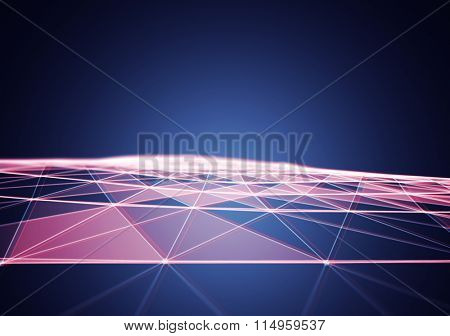 3D Abstract Polygonal Space Background with Red and Blue Low Poly Connecting Dots and Lines - Connection Structure - Futuristic HUD background