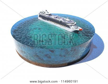 Model  of the ocean and liner.