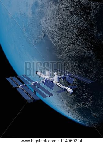 Space Station in space against the background of the Earth.