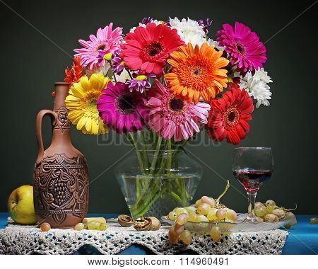 Still Life With Transvaal Daisies In A Transparent Vase.