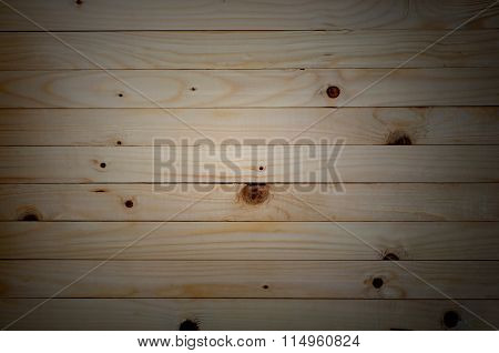 Wood Background, Pine Wood Background In Horizontal Plane With Vignette.