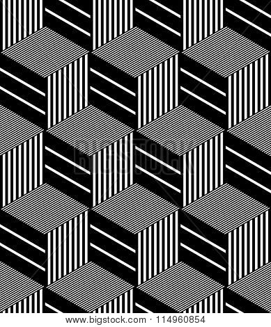 Seamless op art pattern. Geometric hexagons and diamonds texture. Vector art.