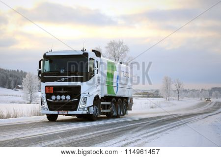 Volvo FH Tank Truck Hauls Diesel Fuel In Winter