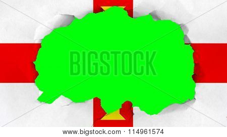 Flag of Guernsey painted on paper texture