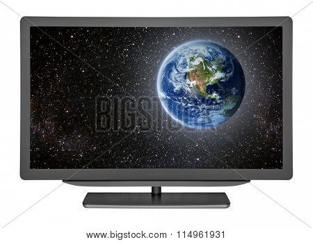 flat television on the white backgrounds. Elements of this image furnished by NASA