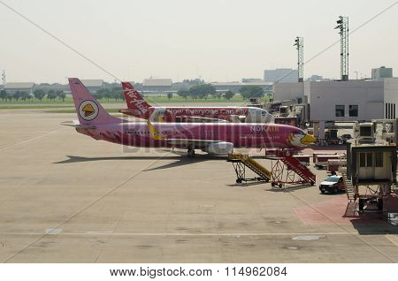Thai Air Asia Plane And Nok Air Plane Landed At Don Mueang Internat