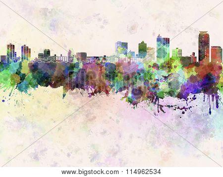 Kawaguchi Skyline In Watercolor Background