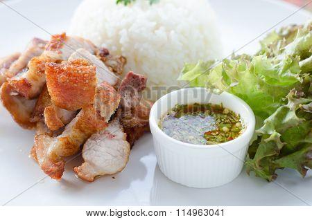 Deep Fried Pork With Rice And Chili Sauce