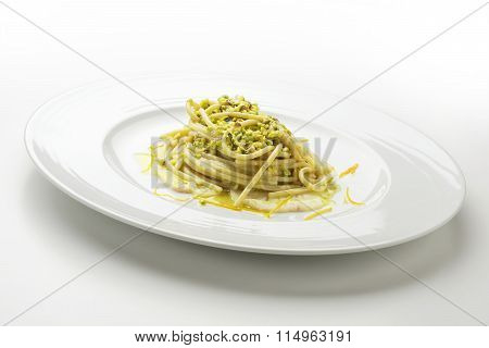 Spaghetti With Pistachio And Citrus Yellowtail