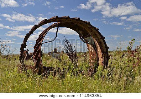 Huge steel wheels from steam engines