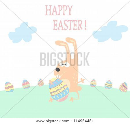 Banner For Design Posters Or Invitations On Happy Easter's Day With Cutest Rabbit And Hand Drawn