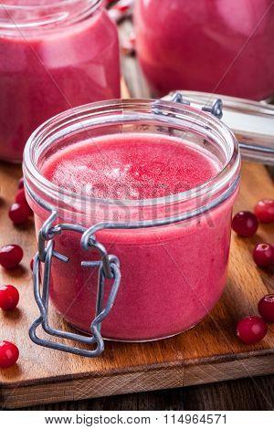 Cranberry Curd In A Glass Jar