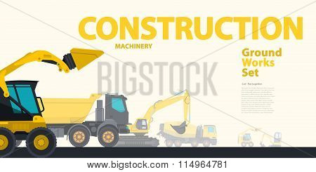 Yellow typography set of ground works machines vehicles - catalog page.