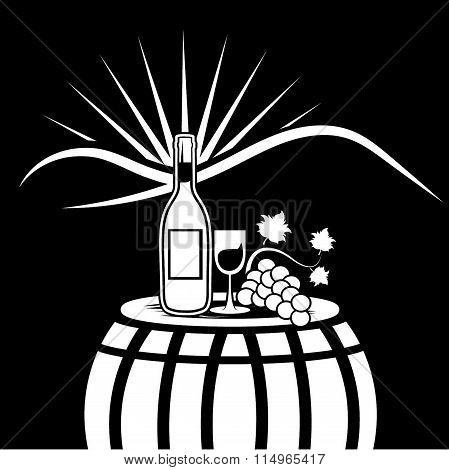 Vector Illustration Of Wine Bottle,wineglass And Grape On The Background Of Mountains And Sun
