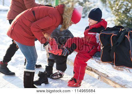 Parents Put Their Children Skating