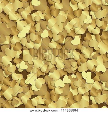 Golden shiny hearts confetti Valentine's day or Wedding Greeting Card vector background. Good for Valentines day invitation, Valentine card, Valentines day background.