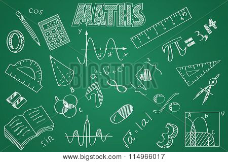 Hand drawn Maths set. Chalk on the blackboard