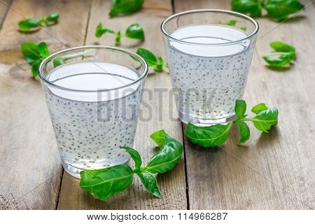 Sweet Basil Seed Drink In Glass