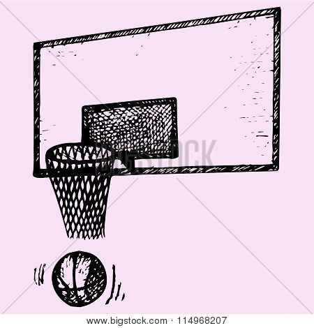 basketball backboard, basket and ball in movement