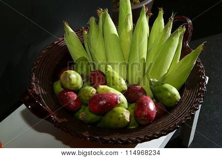 Bowl of Corn and Cactus Fruits (Tunas)