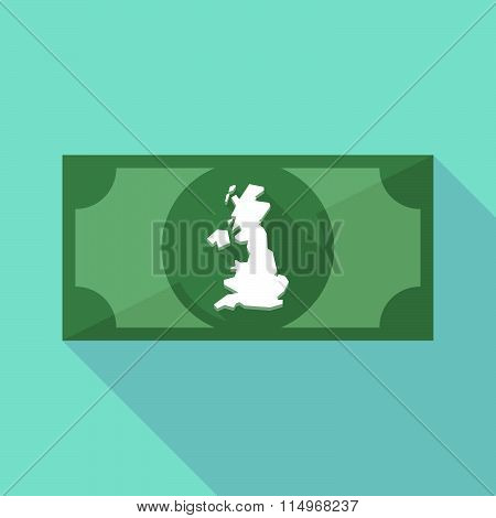 Long Shadow Banknote Icon With  A Map Of The Uk