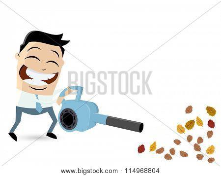 funny cartoon man with leaf blower