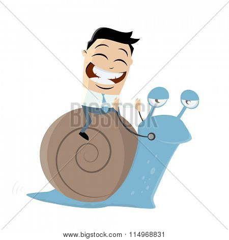 funny businessman riding a slow snail