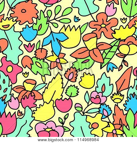 Childish cute pastel colored floral seamless pattern, vector