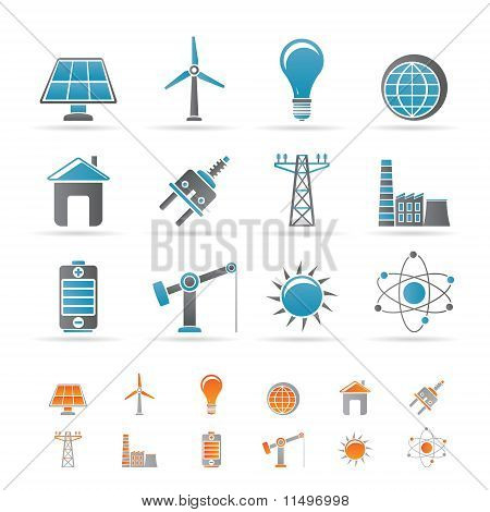 power, energy and electricity icons