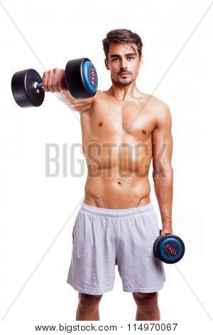 Fitness man lifting weights, isolated on white background