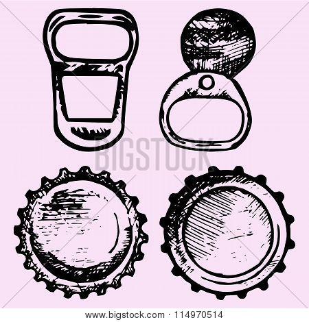 set of bottle caps, metal ring pull