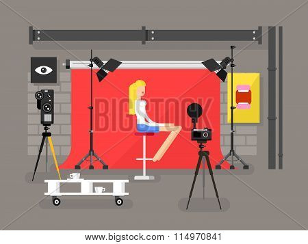 Photo studio interior with model
