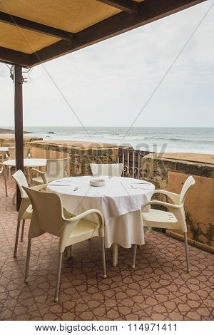 Dining Table On The Terrace Near The Beach In Rabat